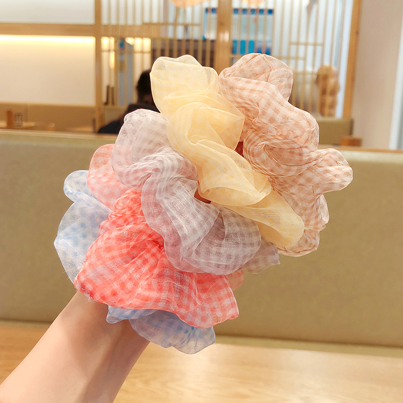 Summer Women Girls Colors Sweet Plaid Elastic Hair Bands Ladies Lovely Soft Ponytail Holder Rubber Bands Female Hair Accessories