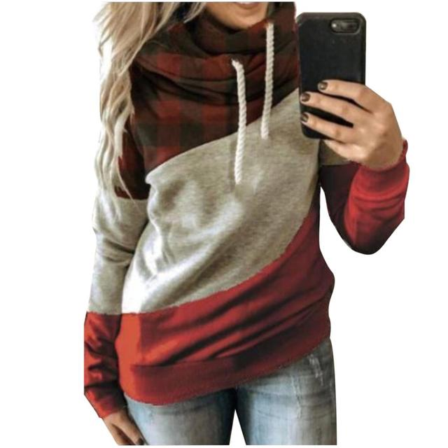 Autumn Winter  Women Cowl Neck Color Block Patchwork Fall Hoodie Sweatshirt Long Sleeve Pullover Casual Warm Hooded Tops 5XL 4