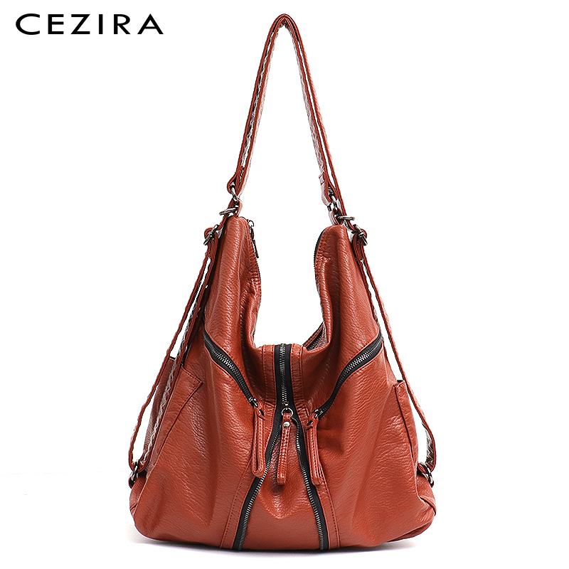 CEZIRA Large Washed PU Women Backpack Girls Functional School Bag Fashion Vegan Leather Shoulder Bags Female Casual Zip Knapsack