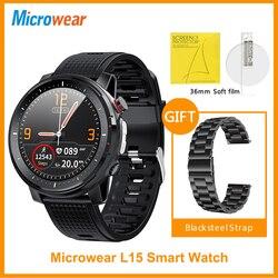 ES Original Microwear L15 Смарт-часы ЭКГ пульсометр кровяное давление IP68 Водонепроницаемая фотокамера с Bluetooth Lashlight VS L16 SmartWatch