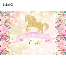 Laeacco Flowers Light Bokeh Unicorn 1st Birthday Baby Photography Backgrounds Customized Photographic Backdrops For Photo Studio