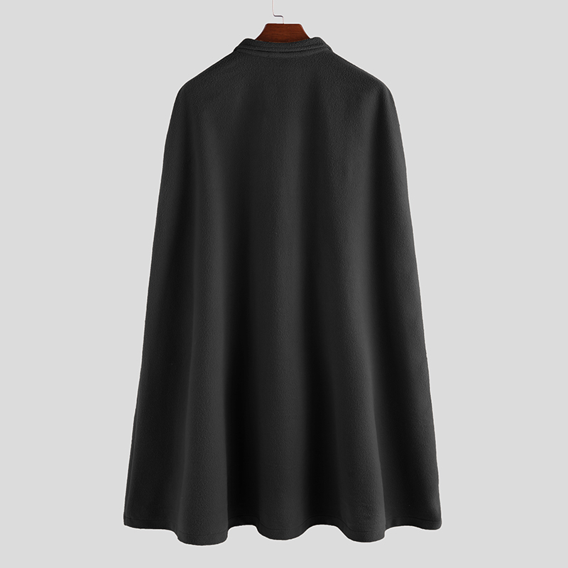 Closeout DealsINCERUN Men Cloak Coats Cape Overcoat-Stand-Collar Casual-Jackets Faux-Blends Trench