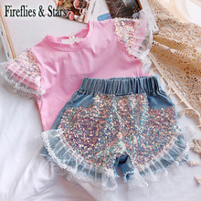 Summer girls hot shorts baby mini jeans kids denim shorts children bottoms streetwear bling sequin ruched mesh patch 3 to 9 yrs