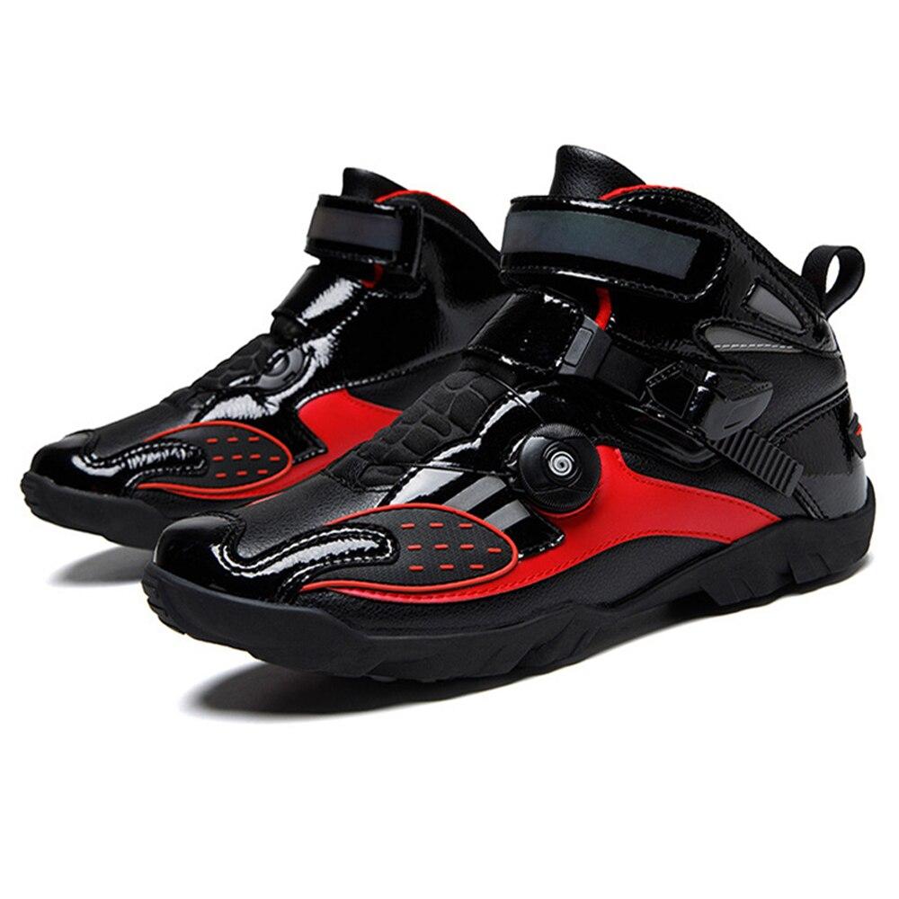 Bottes de Moto rouge noir pour Motocross bottes déquitation chaussures de Motocross respirant Moto Chopper Cruiser bottes de motard