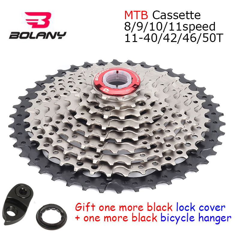 BOLANY MTB Bike <font><b>Cassette</b></font> 8s 9s 10s 11speed Mountain Bike Flywheel Aluminum Parts <font><b>11</b></font>-40/42/<font><b>46</b></font>/50T Sprocket Derailleur Fit Shimano image