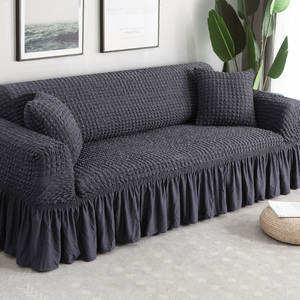 Sofa-Cover Living-Room Elastic Stretch Plaid L-Shape 1-4-Seater Sectional Solid-Color
