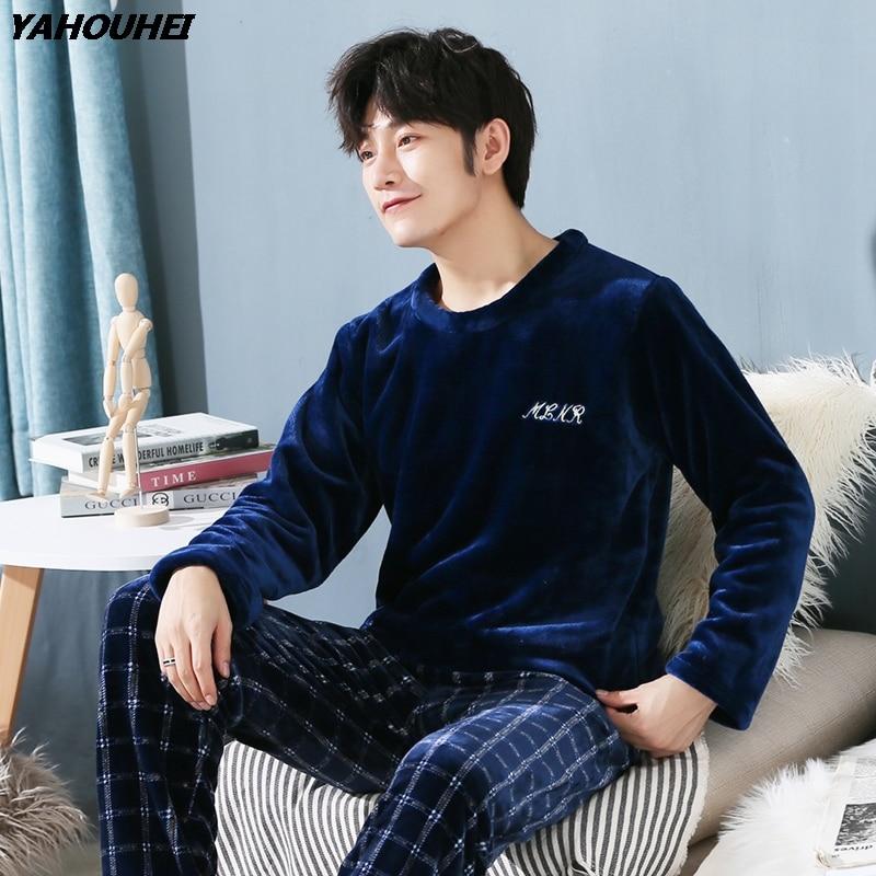 Толстые теплые фланелевые пижамные комплекты для мужчин размера плюс, зима 2018, Коралловая бархатная пижама с длинным рукавом, домашняя