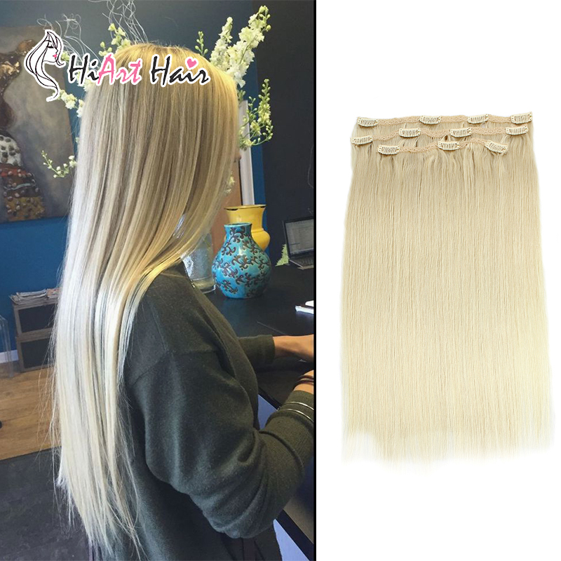 Hiart Hair-Extensions Human Double-Drawn Clip-Blonde Remy Straight In 18-20-22-