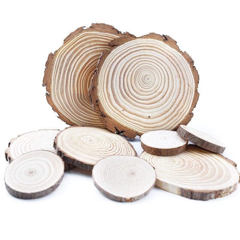 Круглые необработанные деревянные ломтики из натуральной сосны толщиной 6-15 см, круги с корой дерева, диски «сделай сам», ремесла, картина дл...