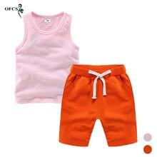 Costume d'été en coton pour enfants, T-shirt + short doux pour bébés, tenues solides pour garçons et filles, combinaison de vêtements pour nourrissons, soldes spéciales