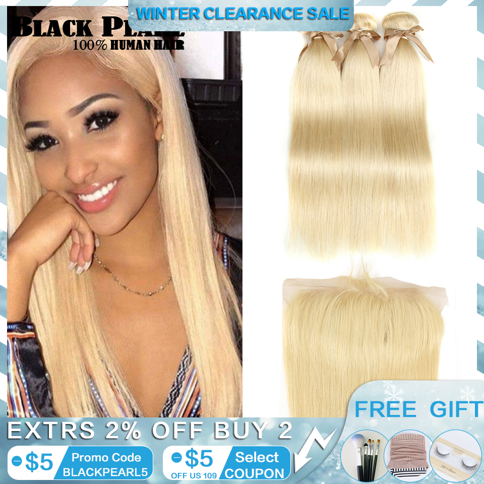 Black Pearl 613 Blonde Bundles With Frontal Straight Remy Hair Bundles Blonde Brazilian Hair Weave 2/3 Bundles With Frontal