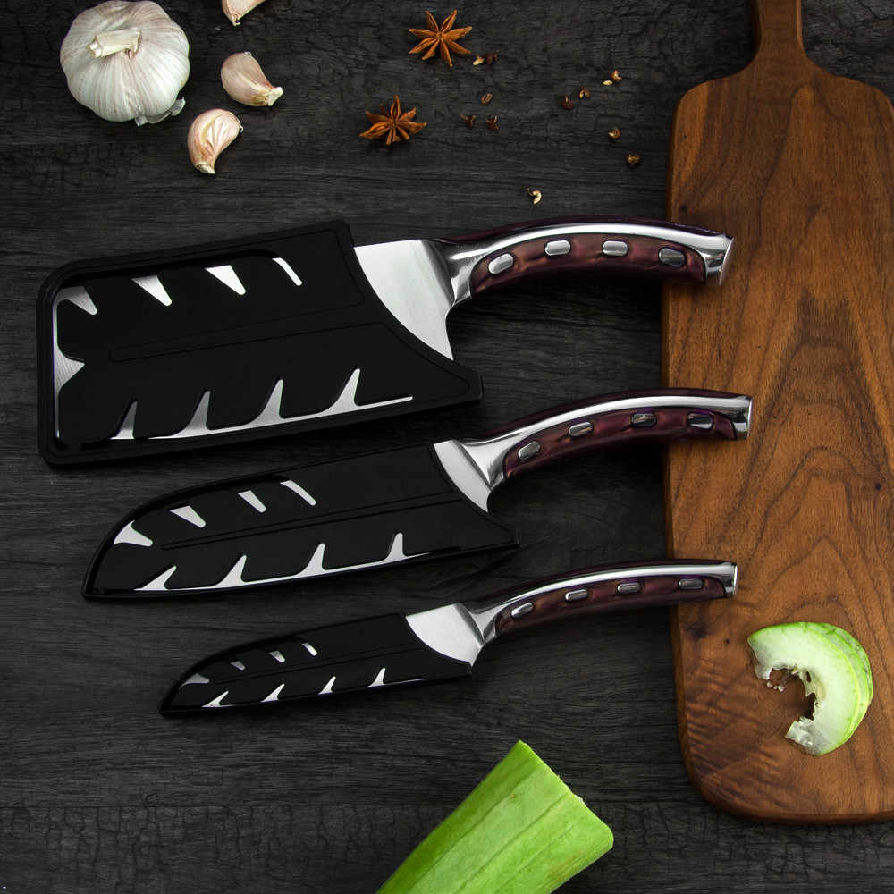 Protective Stainless Steel Kitchen Knives Edge Guard Cover  Universal Save For 8 inch Slicer Cleaver Slicing Knife Sheath Covers