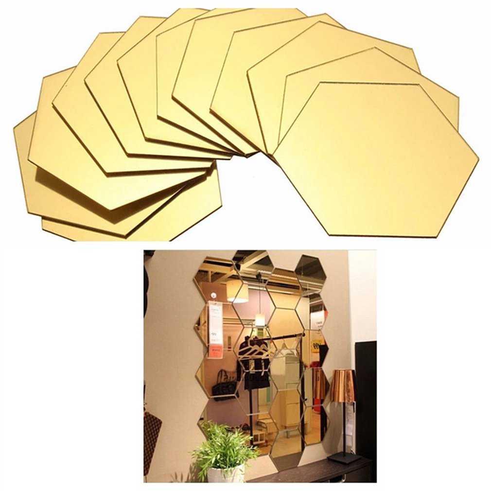 12PCS Hexagon Removable Waterproof Self-adhesive Mirror Stickers Home Bathroom Kitchen Wall Stickers Kitchen Decoration