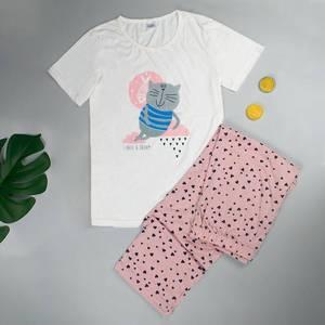 Image 5 - 여성 잠옷 파자마 세트 여성 인쇄 귀여운 새 잠옷 면화 짧은 소매 여성 잠옷 여성 잠옷
