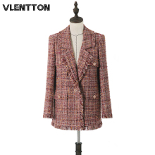 2020 Spring Autumn Vintage Plaid Tweed Long Blazer Jacket Women Tassel Suit Coat Female Outwear Tops Office Blazers Feminino