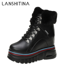 Shoes Chunky-Boots Plush-Botines High-Platform Women Winter Sneakers Ankle Femmes 10cm