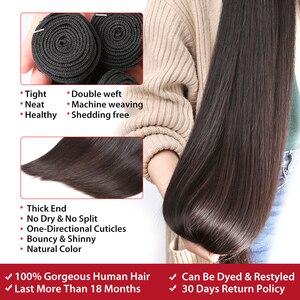 Image 4 - 28 30 40 pouces Péruvienne Cheveux Bundles Droite 3 4 Faisceaux Avec Fermeture Extensions De Cheveux Humains Vague formateurs et 5x5 Dentelle Fermeture