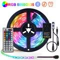 Цветная (RGB) Светодиодные ленты светильник 5050 2835 Гибкая лампа Лента лазерный диод ИК/Bluetooth управление ТВ тыловая подсветка светильник ing Крыт...