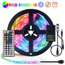 Rgb conduziu a luz de tira 5050 2835 lâmpada flexível fita diodo ir/controle bluetooth tv backlight iluminação interior decoração do quarto lâmpada