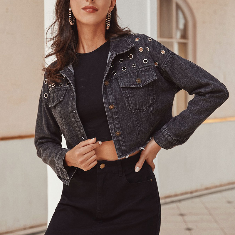 Black slim fashion women denim coats turn down collar top long sleeve ladies hola short jackets