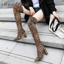 Meotina Winter Over the Knee Boots Women Leopard Thick Heel Thigh High Boots Slim Stretch Super High Heel Shoes Lady Fall 34-46 цена и фото