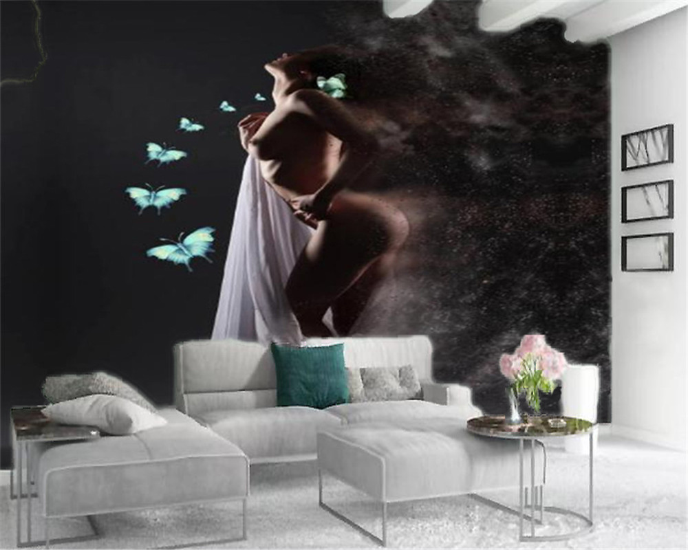 3d Character Wallcovering Wallpaper Sexy Beautiful Butterfly Girl Living Room Bedroom Home Decor Modern Mural Wall Covering