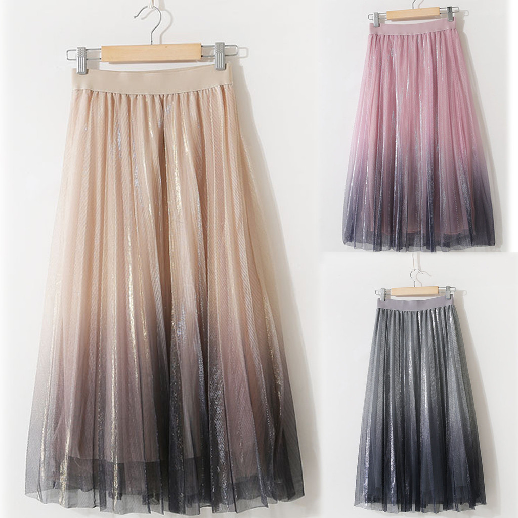 Women Skirt 2020 Long Tulle Tutu Skirt Princess slim fashion Skirts Party Beach Multi Layers Skirt plus size Casual Loose Skirt