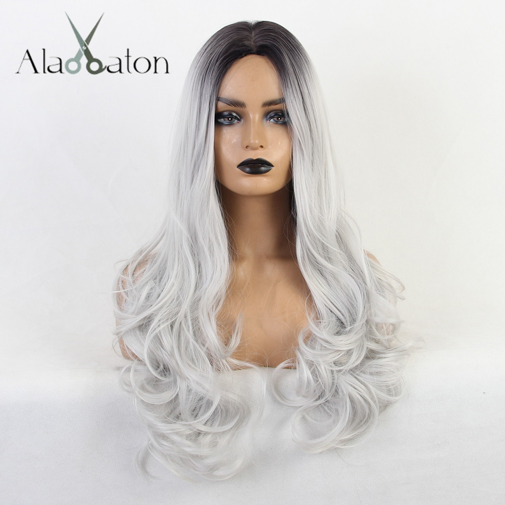 ALAN EATON Ombre Black Grey Long Wavy Synthetic Wigs Heat Resistant High Temperature Fiber Cosplay Wigs For Women Middle Part