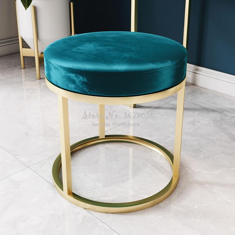 Light Luxury Makeup Stool Nordic Bedroom Modern Iron Round Chair  Nano Golden High Quality Sofa Stool Ottoman 45cm Height
