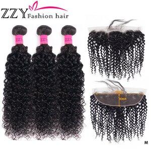 ZZY mode 3 paquets avec 13x4 dentelle frontale fermeture péruvienne crépus bouclés paquets avec frontale non-remy Extensions de cheveux humains