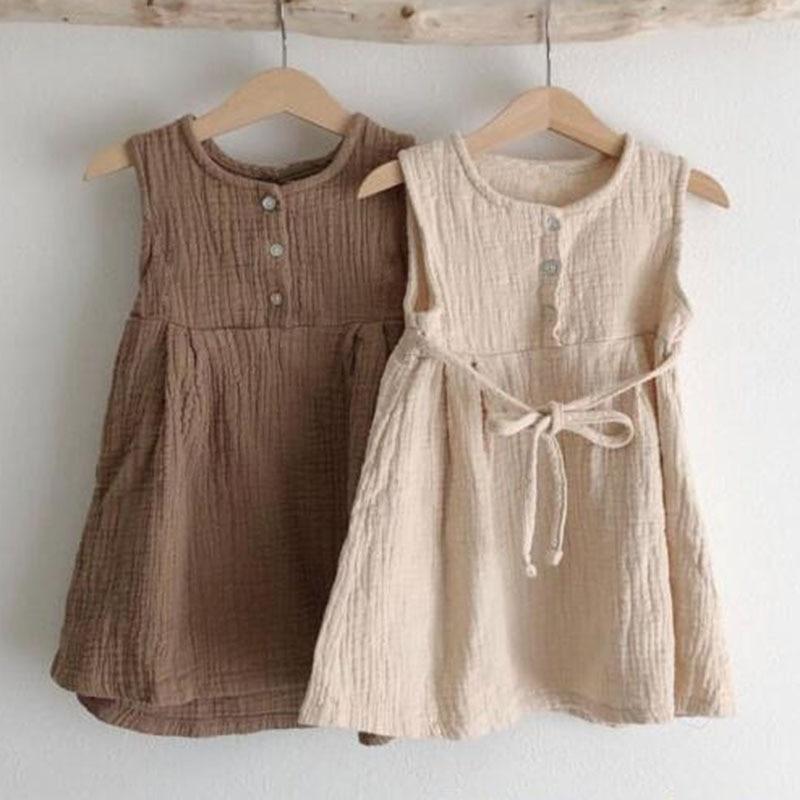 New 2021 Spring Casual Baby Kids Girl Pure Color Princess Dresses For Girls Dresses Summer Kids Girl Dress Sleeveless Dress