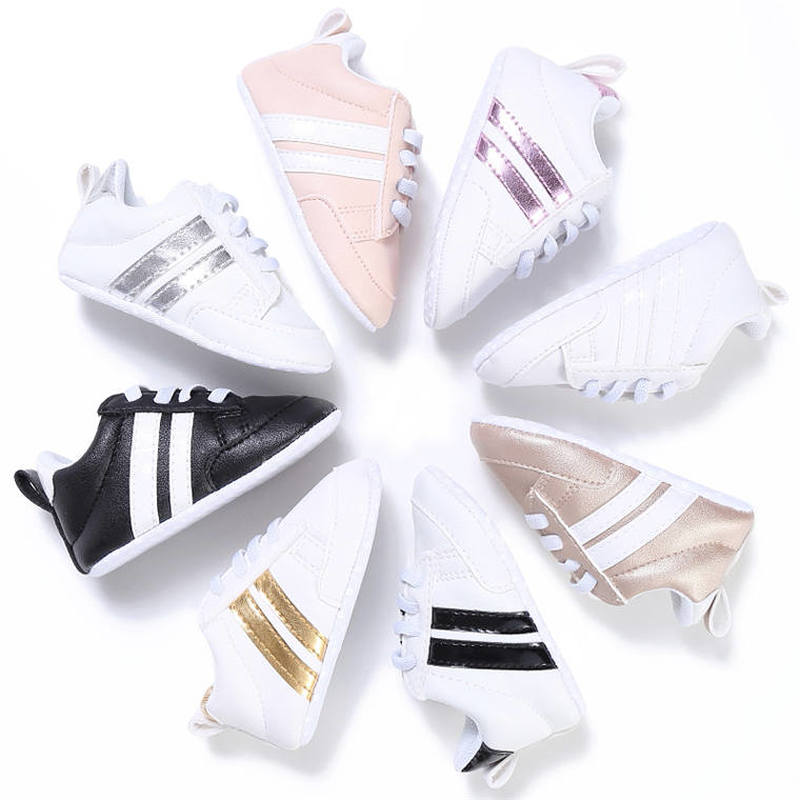 Baby Shoes Boy Girl Solid PU Striped Sneaker Comfort White Shoes New Style Newborn Infant First Walkers Casual Crib Moccasins