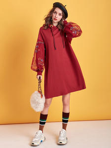 ARTKA Hooded Pullover Sweatshirt Dress Embroidery Vintage Winter Mesh Long VA15095D Autumn