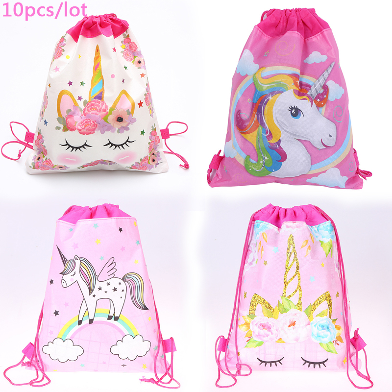 10pcs/lot Girls Favors Lovely Unicorn Mochila Non-woven Fabrics Birthday Party Baby Shower Decorate Flower Drawstring Gifts Bags