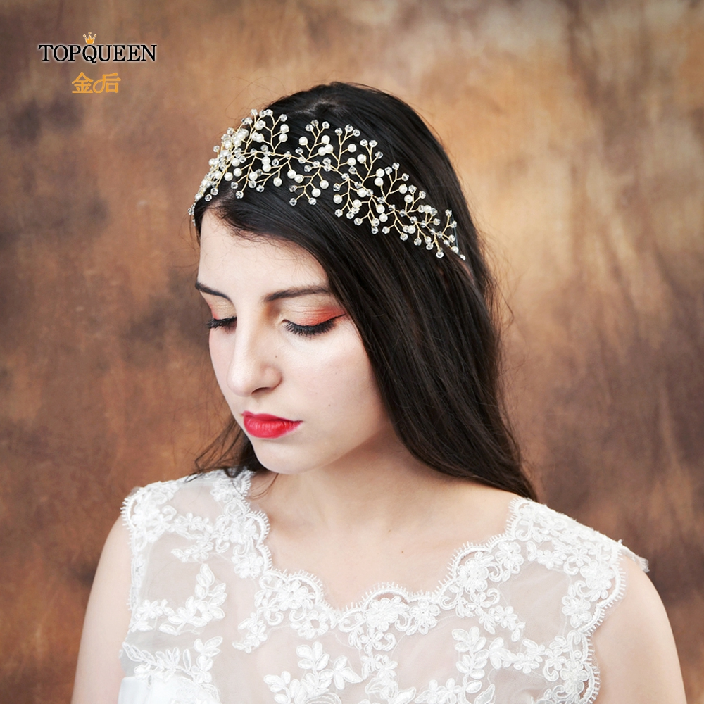 TOPQUEEN Newest Crystal Headband Bridal  Hair Vines Pearl Wedding Accessories Head Handmade Bridal Headpieces Two Colors HP55