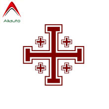 Aliauto Car Sticker Creative Jerusalem Cross Accessories PVC Decal for Audi Bmw Ford Focus, 11CM*11CM(China)
