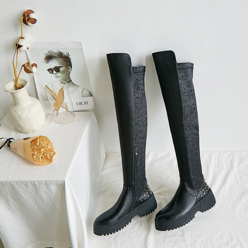 ZVQ winter nieuwe mode overknee laarzen buiten comfortabele hoge hakken platform ronde neus klinknagel zip vrouwen schoenen drop shipping - 3
