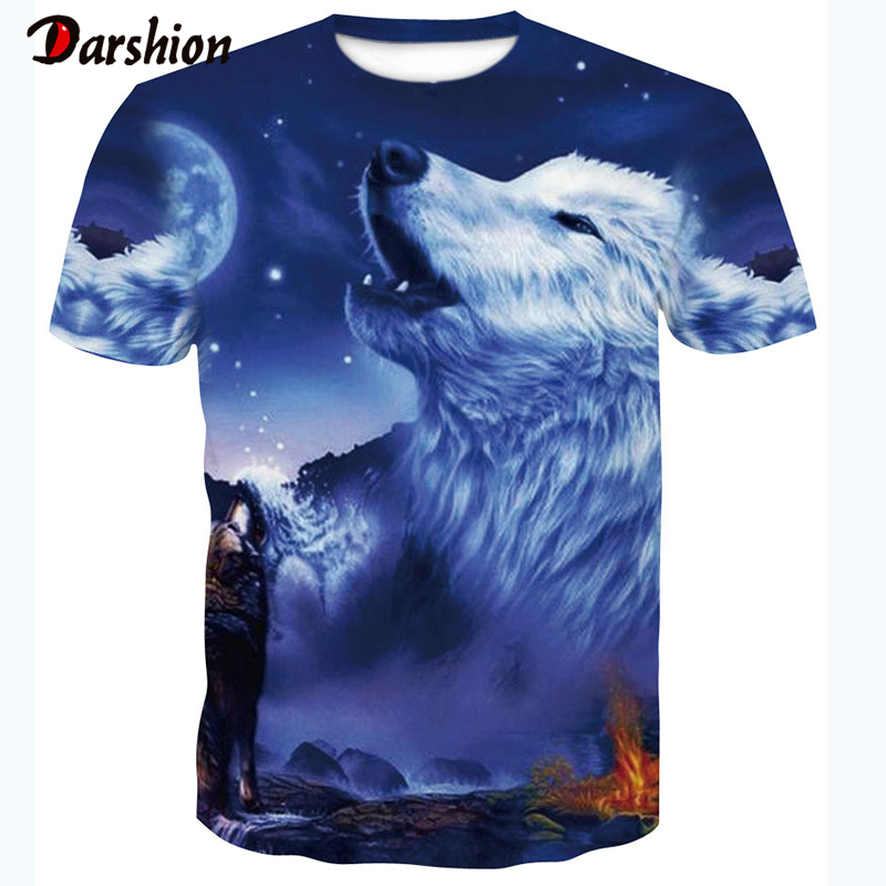 Animal T-Shirt Skull 3D Wolf T Shirt Summer Men's Fashion Tops Male Print Harajuku Wolf Men Casual Anime T-Shirts Dropshipping