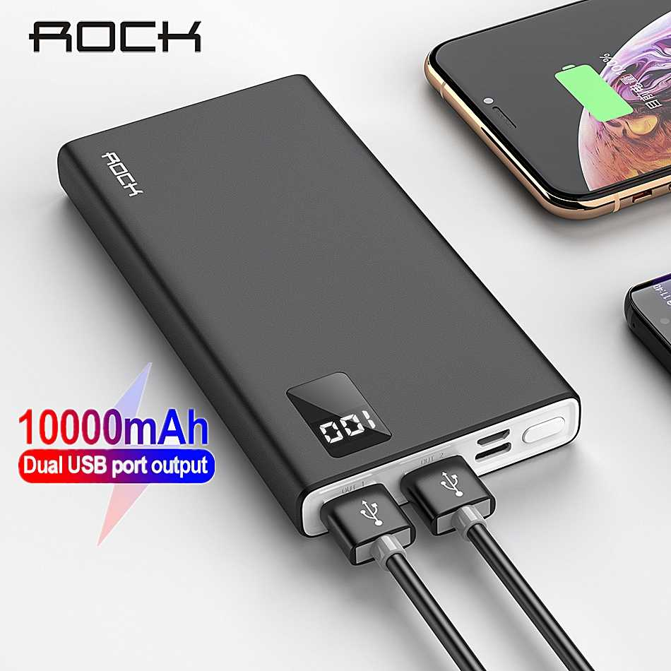 ROCK Power Bank untuk Xiaomi Mi iPhone Mini Digital Pover Bank 10000 MAh Slim Powerbank Baterai Eksternal Poverbank Pengisian Cepat