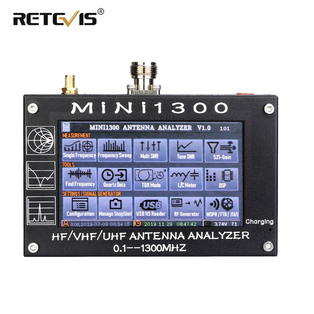 Retevis Mini 1300 HF/VHF/UHF 0.1-1300MHz SWR Antenna Analyzer With 4.3″ LCD Touchscreen Antenna For Radio