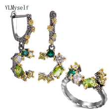 Beautiful Earrings/Ring 2pc Set Branch Olivine Multi Stone Jewelry Sets Color Crystal Pretty Jewellery for Women Statement