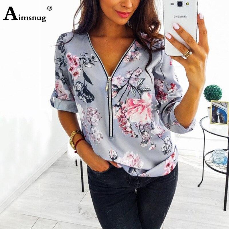 Womens Boho Floral Long Sleeve Blouse Ladies V-Neck Baggy Tops T-shirt Plus SiDE