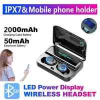 New F9 PK i7 TWS Bluetooth 5.0 Headset 9D Hifi Mini Stereo Sports Wireless earphones With Charging Box Mic For iPhone Xiaomi