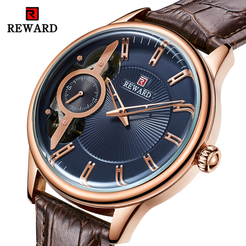 REWARD Men Watch Luxury Double Movement Tourbillon Watches Waterproof Hollow Dial Top Brand Wristwatch  Relogio Masculino|Quartz Watches| |  - title=