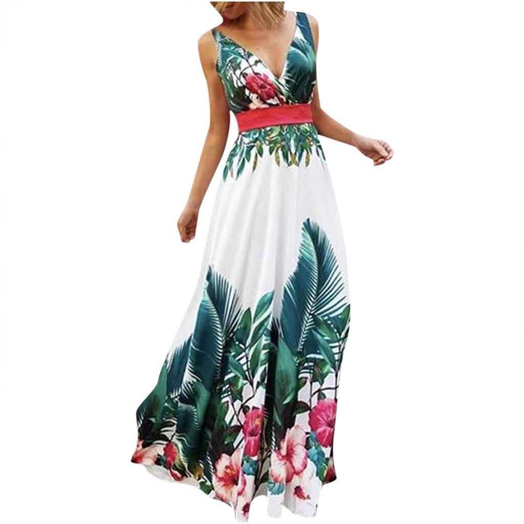 Yaz plaj elbiseleri kadınlar Boho çiçek baskılı elbise moda bayanlar kolsuz parti akşam uzun Maxi elbise v yaka Sundress