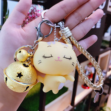 Korean Version of The Cute Cartoon CC Cat Keychain Smiley Men and Women Key Ring Jewelry Car Chain Bag Pendant Gift