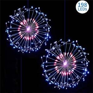 Image 4 - LED מחרוזת אורות 120LED 198LED עמיד למים זר פיות זיקוקי שן הארי אור DIY קישוט חג המולד מסיבת חתונה