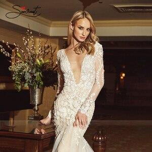 Image 5 - BAZIIINGAAA חתונה שמלת שרוולים עגול צוואר להסרה זנב חתונה שמלת בת ים תחרת Applique הכלה תמיכה תפור