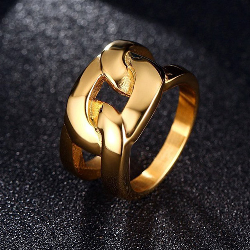 Gold Color Large Wedding Engagement Ring Stainless Steel Club Party Rings