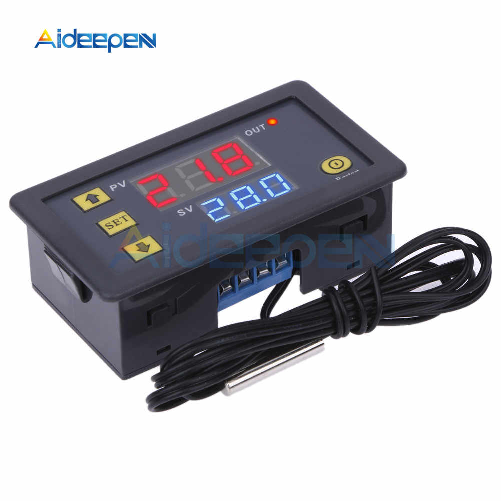 W3230 DC 12V 24V 110V 220V AC Digital Temperature Controller LED Display Thermostat dengan Pendingin Pemanasan switch NTC Sensor
